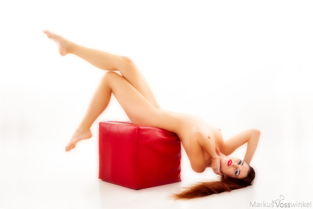 full body portrait photography, red cube