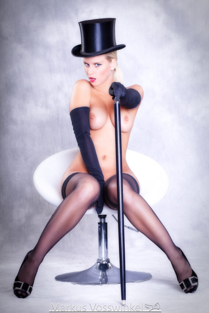 retro art, Woman with top hat and stick