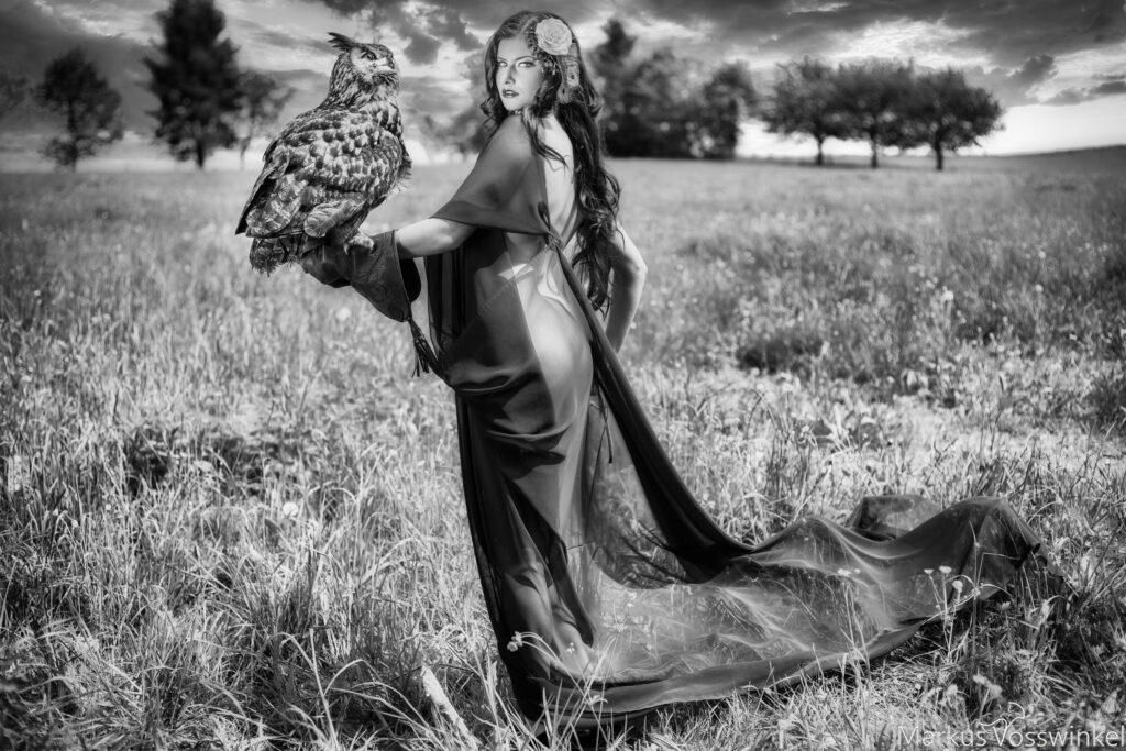 Woman with Eagle Owl