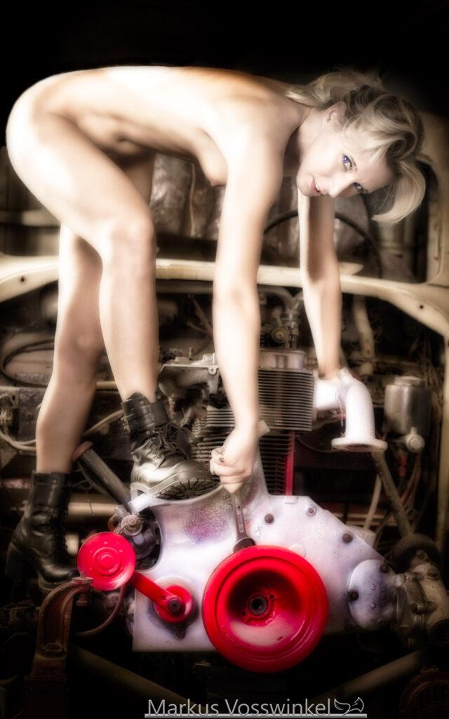 women at work, mechanical workshop