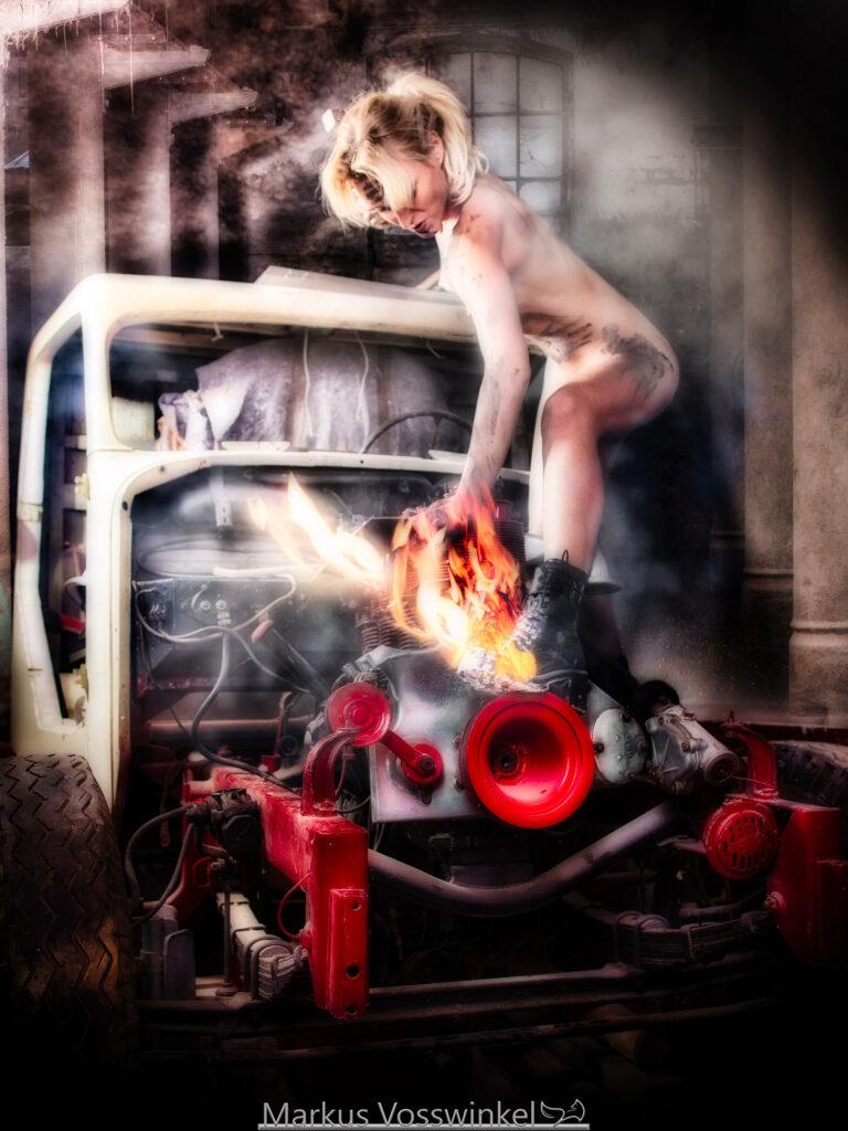 women at work, it's burning