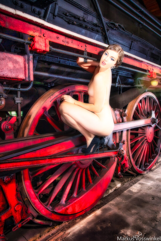 Lady on the steam train